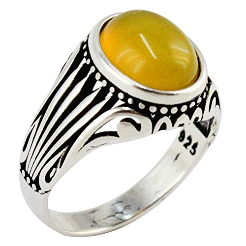 Natural Yellow Agate Stone 925 Sterling Silver Turkish Handmade Ottoman Men's Awesome Ring (8.5)