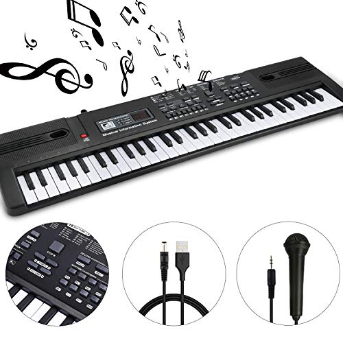 WOSTOO 61 Key Piano Keyboard Portable Electronic Kids Piano Keyboard Beginner Digital Music Piano Keyboard & Microphone Teaching Toy Gift for Kids Boy Girl