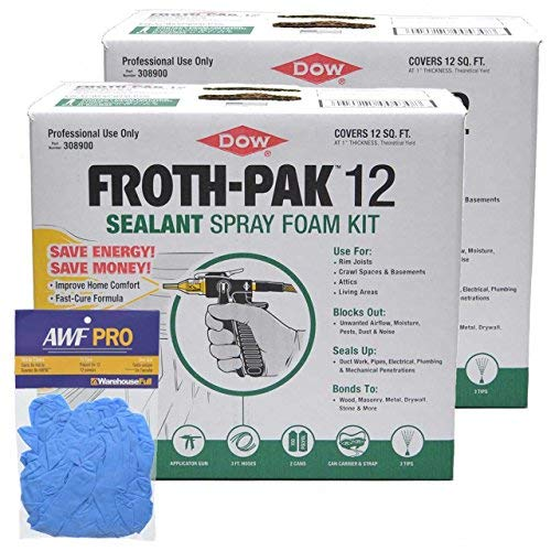 Dow FROTH-PAK 12, Spray Foam Sealant Kits, 12 Board feet/kit - 2 Complete Kits with Nitrile Gloves