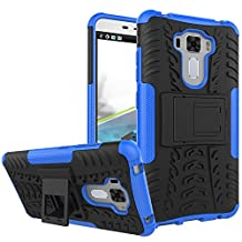 """Asus ZenFone 3 Laser (ZC551KL) Case 5.5"""",B1ST Military Tires Leather with Kickstand Heavy Duty Cover Impact Resistant Corner Protection Shockproof Anti-fall,Scratch Resistant TPU Soft Cover for ASUS Zenfone 3 Laser ZC551KL 5.5 Inch (Blue)"""