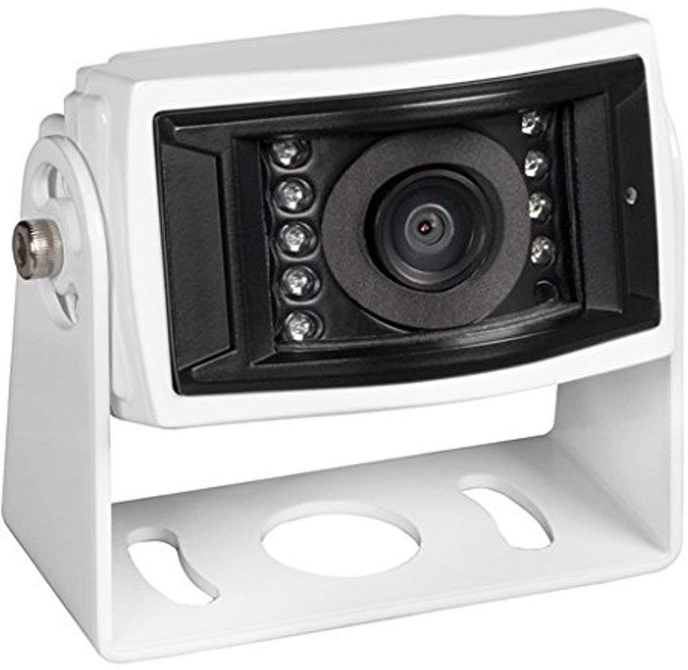 Corrosion resistant White IR low light assist White Aluminum Housing VCCS155 ASTM B117 9 LEDs Voyager VCMS155 Color CCD IR LED Camera Waterproof Mirro image orientation High performance color optics 155 degrees Viewing angle Microphone IP69K
