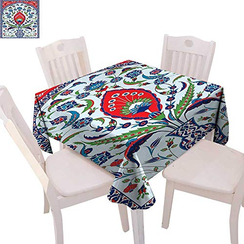 - cobeDecor Turkish Pattern Stain Resistant Wrinkle Tablecloth Floral Nature Art Motifs from Istanbul Abstract Plant in a Vase Square Wrinkle Resistant Tablecloth 70