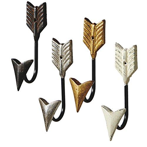 our Arrow Single Wall Hooks Set of 4 Painted Cast Iron ()