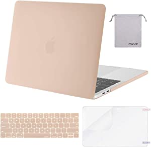 MOSISO MacBook Pro 13 inch Case 2019 2018 2017 2016 Release A2159 A1989 A1706 A1708, Plastic Hard Shell Case&Keyboard Cover&Screen Protector&Storage Bag Compatible with MacBook Pro 13, Camel