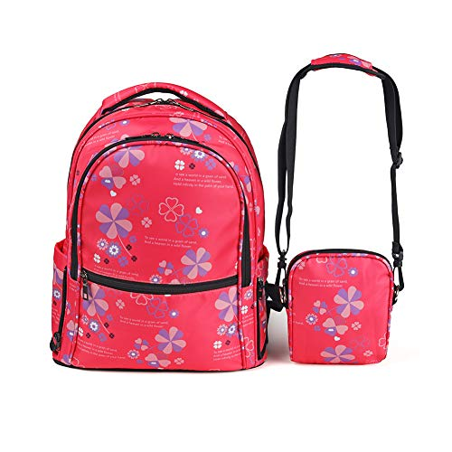Durable School Backpack Casual Daypack for Girls Kids Travel Carry-on Backpack with Laptop Sleeve and Cross Body Bag, 20L (Pink) ()