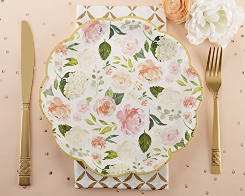 Floral Party Plates - Kate Aspen, Floral Paper Plates, Disposable Dinnerware Set (Set of 8)