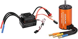 GoolRC Upgrade Waterproof 3660 3300KV Brushless Motor with 60A ESC Combo Set for 1/10 RC Car Truck