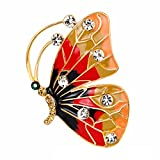 SANWOOD Butterfly Insect Enamel Rhinestone Brooch Pin Xmas Gift Scarf Dress Accessory