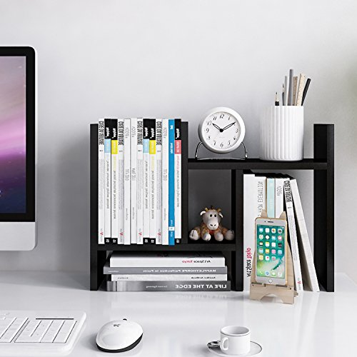 Jerry & Maggie - Desktop Organizer Office Storage Rack Adjustable Wood Display Shelf - Free Style Double H Display - True Natural Stand Shelf - Black ()