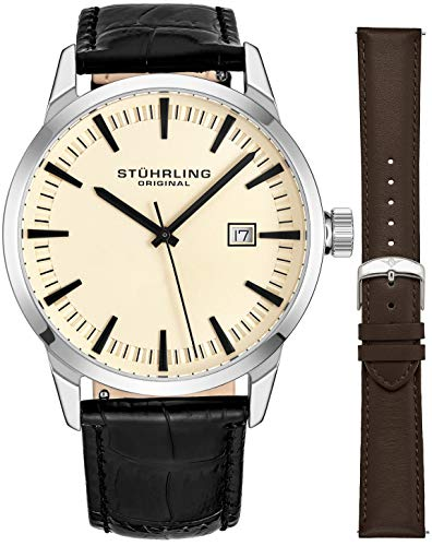 Stuhrling Original Mens Minimalist Swiss Quartz Stainless Steel Dress Wrist-Watch, Quick-Set Date, 2 Easy-Interchangeable Leather Straps - 555AZ Series