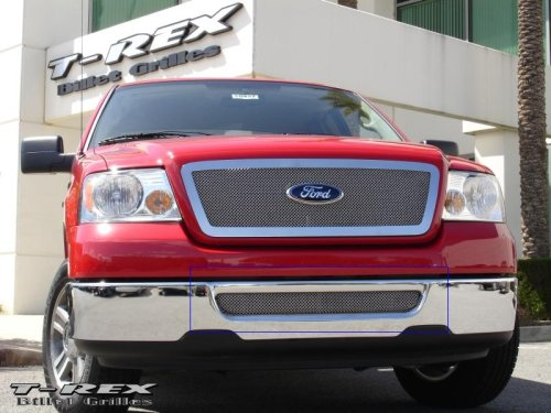TRex Grilles 55555 Upper Class Small Formed Mesh Stainless Polished Finish Bumper Grille Bolt-on for Ford F150 Mark LT
