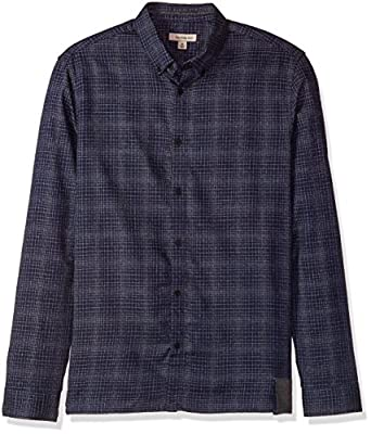 Calvin Klein Jeans Men's Long Sleeve Brushed Line Grid Button Down Shirt