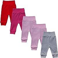 MEA BABY Pantalones unisex para bebé, 100 % algodón, pack de 5 unidades.