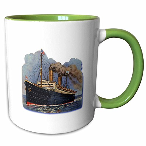 3dRose BLN Vintage Nautical Illustrations Collection - Blue and Red Steam Ship with an American Flag Crossing the Ocean - 15oz Two-Tone Green Mug (American Crossing Home Office Desk)