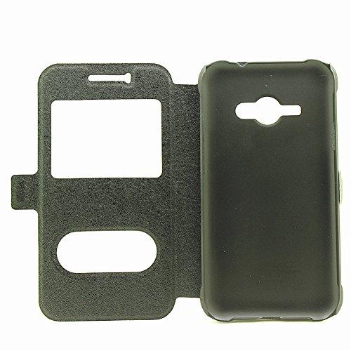 YHUISEN Sólido Cuero Color PU con el caso del soporte del protector del patrón doble ventana abierta seda para Samsung Galaxy Ace J1 2015 (respuesta o rechazar llamadas sin abrir la tapa) ( Color : Bl Black