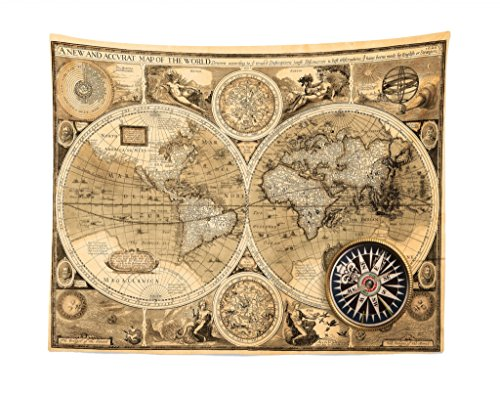 - Lunarable World Map Tapestry, Old Chart with Countries Oceans Continents Atlas Nostalgic Antique Image, Fabric Wall Hanging Decor for Bedroom Living Room Dorm, 28 W X 23 L Inches, Sand Brown Umber