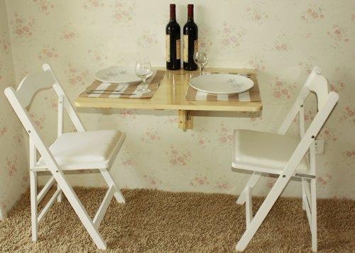 SoBuy® Tavolo da muro pieghevole in legno 75 * 60cm, naturale,senza ...