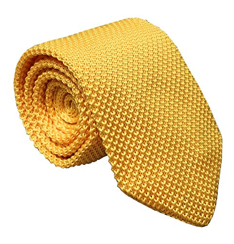 Men's Tender Yellow Eco-friendly Silk Ties Extra Long Knit Necktie Solid 58 Inch