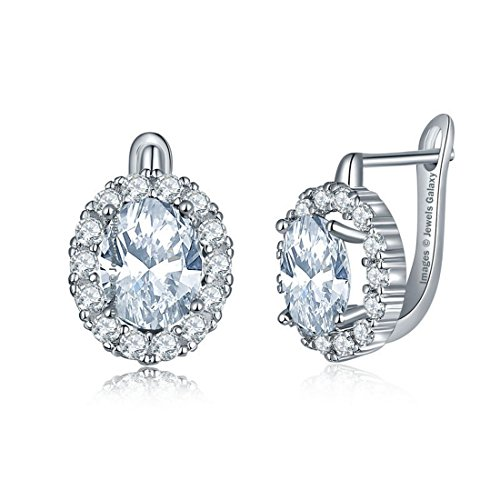 Jewels Galaxy Crystal Elements Exclusive Sparkling Splendid Platinum Plated Clip on Earrings For Women/Girls