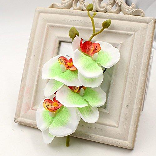 Green Orchid Boutonniere - Artificial Flowers Roses 4 Bunch (a Bunch =4PCS) Handmade Flower Butterfly Bouquet Wedding Home Decoration DIY Wreath Cymbidium Orchid Artificial Plant (Light Green)