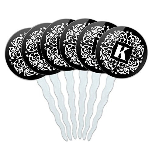 (Set of 6 Cupcake Picks Toppers Decoration Letter Initial Scrolls Black White - Letter K Initial)