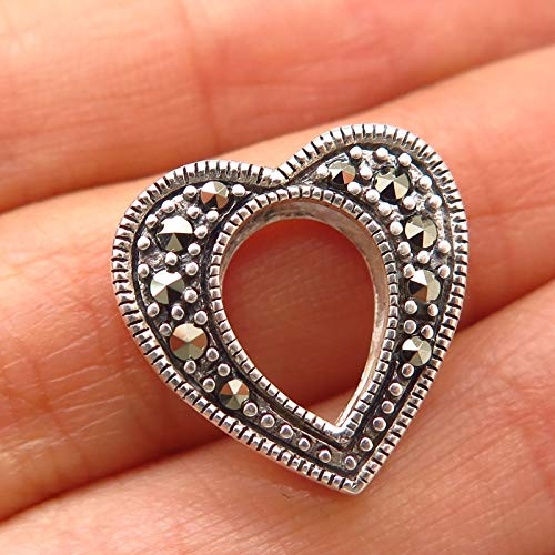 - 925 Sterling Silver Real Marcasite Ornate Heart Cutout Design Slide Pendant Jewelry Making Supply by Wholesale Charms