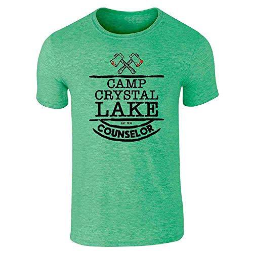 Pop Threads Camp Crystal Lake Counselor Costume Staff Heather Irish Green L Short Sleeve T-Shirt