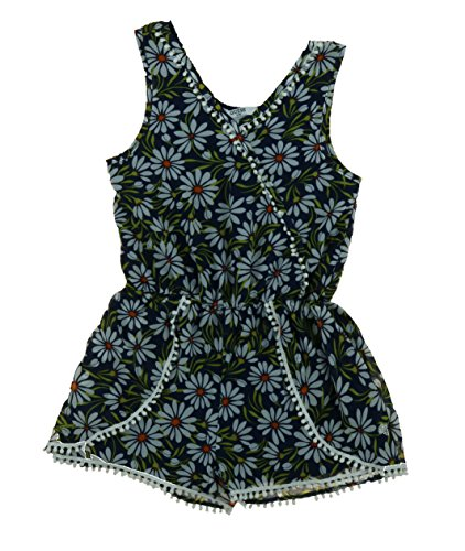 Guess Jeans Kids Girl's Romper Jumpsuit Outfit, Navy Floral, Size - Outlet Store Guess