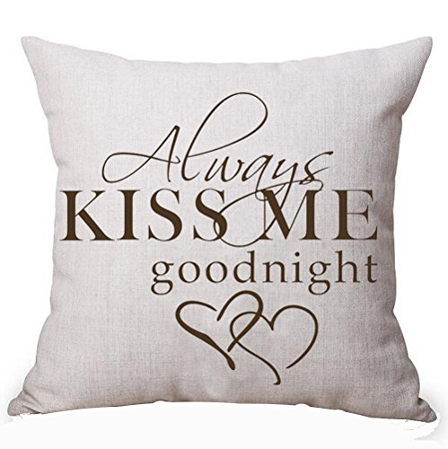 (Queen's designer Always Kiss Me Goodnight For Lover Inspirational Cotton Linen Decorative Home Office Throw Pillow Case Cushion Cover Square 18X18 Inches (G))