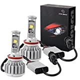YITAMOTOR H11 LED Headlight Bulb H8 H9 6000K 80W 8000LM Replace for Halogen or HID Bulbs Cree Chips