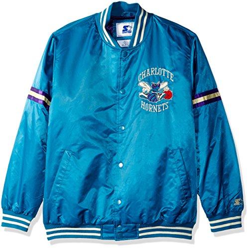 STARTER Adult Men Legecy Retro Satin Jacket, Teal, - Hardwood Jacket Nba