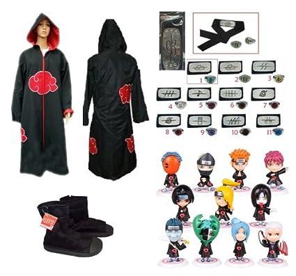 Sunkee Naruto Cosplay Akatsuki Ninja Capa con Capucha + ...