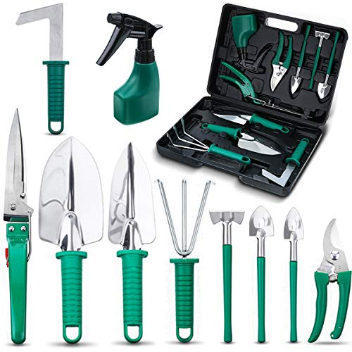 NASUM 10 Pieces Garden Tools Set - Stainless Steel Gardening Tool Case with Trowel Pruner,Rakes, Shovels,Secateurs,Weeding Knife and more,Vegetable Herb Garden Hand Tools,Gifts for Women&Man