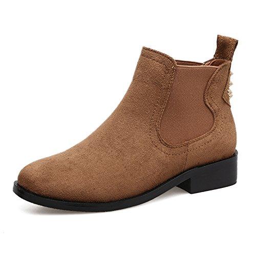 khskx-martin invierno remachadora de botas británico estilo all-match con Rough soporte de y botas de tobillo botas zapatos de mujer marrón