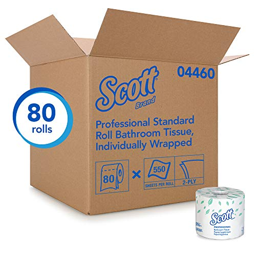 (Scott Essential Professional Bulk Toilet Paper for Business (04460), Individually Wrapped Standard Rolls, 2-PLY, White, 80 Rolls / Case, 550 Sheets / Roll)
