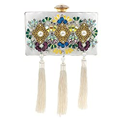 Beaded Rhinestone Tassels Clutches