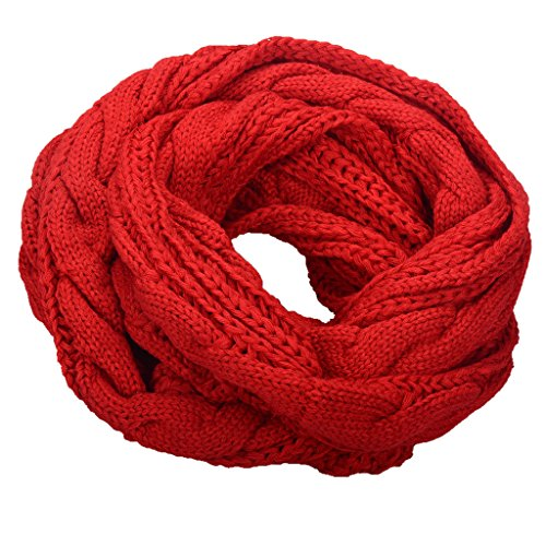 NEOSAN Womens Thick Ribbed Knit Winter Infinity Circle Loop Scarf Twist Red ()