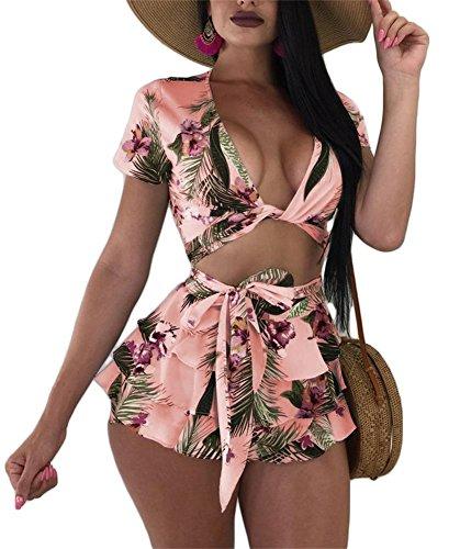 LKOUS Women's Summer V Neck Floral Print Crop Top Flounce Short Pants Jumpsuits Rompers 2 Piece Outfit Set with Belt