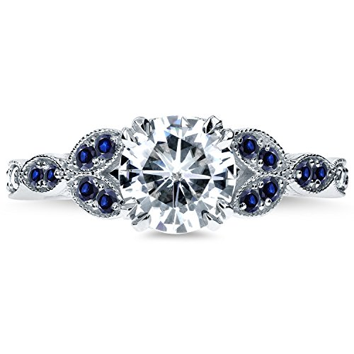 Forever One D-F Moissanite with Diamond & Blue Sapphire Engagement Ring 1 1/5 Carats TW in 14k White Gold