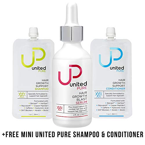 UP Hair Growth Serum – AnaGain 3 Redensyl – 2oz United Pure Bottle w Capixyl, Baicapil, HairSpa, Orich-37, Pentavitin, Caffeine Plus Free UP Shampoo Conditioner Minis