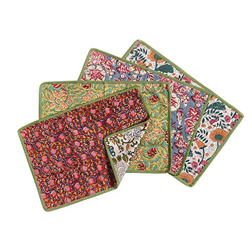 Art & Artifact Jaipur Pretty Hand-Printed Floral Placemats - Reversible Design Cotton Table Pad