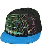 Disney Mickey Mouse Electrifying Neon Flat Bill Cartoon Black Snapback Hat Cap