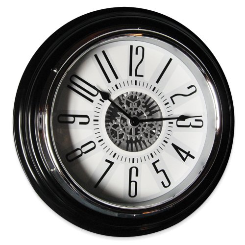 Gear in Motion Black Wall Clock