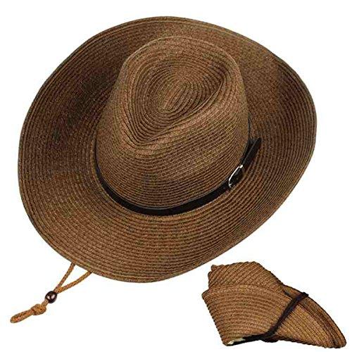 Sun Cowboy Protection (ARHSSZY Western Foldable Straw Cowboy Hat Wide Brim Sun Hat Panama Hat UPF 50+)