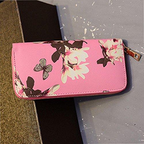 Cartes Main Mignon Bourse Porte Zipper Mode Fleur Cuir Sac à Porte Rose PU Femmes Coin Pochette Hrph Papillon Monnaie Filles Longue nwgqTx6U