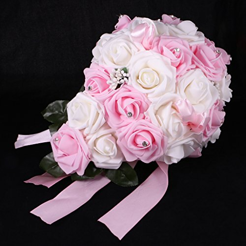 MonkeyJack Romantic Artificial Rose Crystal Cascade Wedding Bride Bouquet Hand Tied Flower - White and Pink