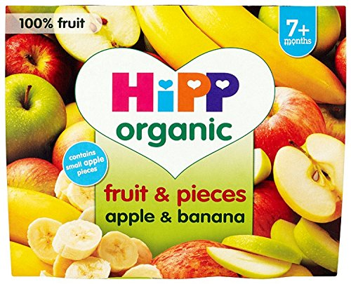 HiPP Organic From 7-9 months Puree and Pieces Apple and Banana with Real Apple Pieces 4 x 100 g (Pack of 6, Total 24 Pots) by HIP Interactive