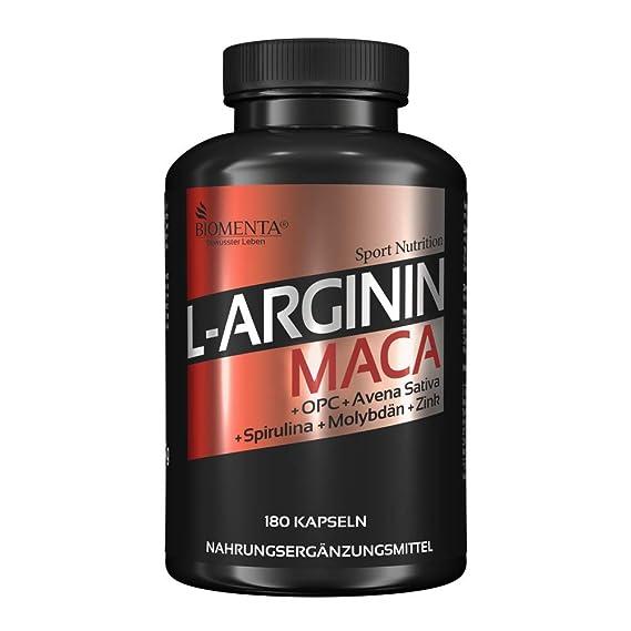 con 2.000 mg L-Arginina + 4.000 mg Maca + OPC + Zinco + Spirulina + Avena Sativa | 180 L-Arginina-Maca-Capsulas: Amazon.es: Salud y cuidado personal