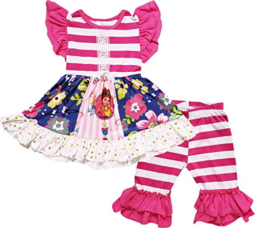 (Boutique Baby Girls Spring Summer Floral Tunic Capri Outfit Fuchsia Stripes)