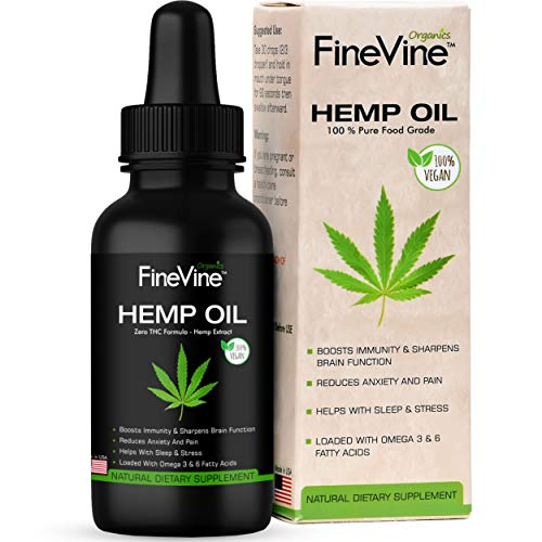 Organic Hemp Oil – Made in USA – for Pain, Stress and Helps Improves Sleep – Best Herbal Supplement.